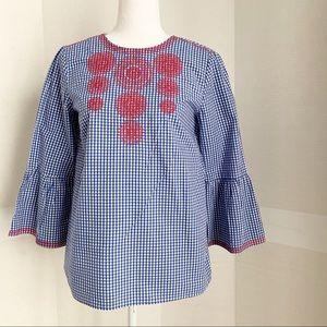 Daniel Cremieux embroidered bell sleeve blouse